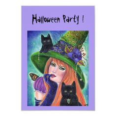 Halloween witch with black cats party invitations , #Affiliate, #cats#party#invitations#black