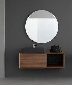 Compab, mobili da bagno, in svariate finiture e con ampia componibilità. A Roma da Realprogetti sas Floating Nightstand, Basins, Mirror, Bathroom, Table, Furniture, Design, Home Decor, Inspiration