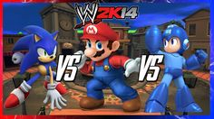 This is Season 2 of WWE matches! We have Sonic VS Mario VS Megaman in a Steel Cage Match! Wwe 2k14, 2k Games, Steel Cage, Mario, Board, Planks