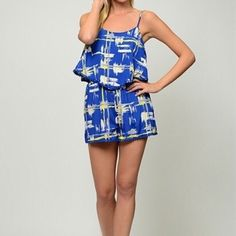 Hinano Romper Brushstroke printed spaghetti strap romper. Lined shorts. Moon Collection Other
