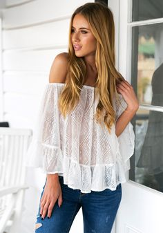 White Off-Shoulder Long Sleeve Top