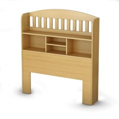 Twin size Bookcase Headboard with Shelves in Natural Maple Finish