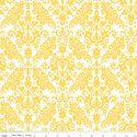 Medium Damask in Yellow on White