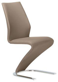 """Der Schwingstuhl """"Zora"""" überzeugt durch hohen Sitzkomfort und außergewöhnliches Design! Der geschwungene Stuhl passt sich Ihrem Körper beim Sitzen optimal an. Dank des flexiblen, metallenen Gestells gibt er Ihren Bewegungen bequem nach. Der hochwertige, hellbraune Bezug im Lederlook gibt dem Stuhl das gewisse Etwas. Der Schwingstuhl von XORA: ein echter Hingucker in Ihrem Zuhause! Gegen Aufpreis erhalten Sie in unseren Filialen zahlreiche Farbalternativen und Beimöbel."""