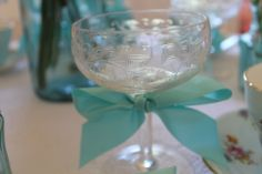 Champagne Coupe with Tiffany ribbon....by Lily and Lace....