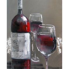 Yosemite Home Decor 'Wine and Two Glasses' Cotton Canvas | Overstock™ Shopping - Top Rated Canvas