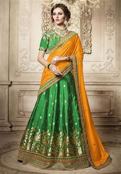 Looking for Lehenga Online: Buy Indian lehenga choli online for brides at best price from Andaaz Fashion. Choose from a wide range of latest lehenga designs. * Express delivery, Shop Now! Indian Lehenga, Lehenga Choli Latest, Brocade Lehenga, Lehenga Style Saree, Party Wear Lehenga, Kurta Lehenga, Lehnga Dress, Silk Dupatta, Anarkali Suits