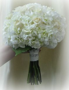 White Hydrangea and Cream Roses Bridal Bouquet