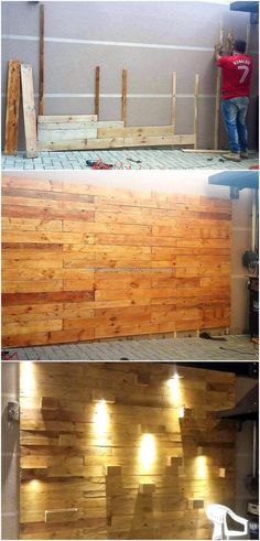Now see an innovative idea that will amaze you, the wall art with the lighting is giving a great look even when the pallets are not painted. The wall is looking great because the pallets have made it appear different than usual walls in the homes.