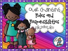 """This social studies unit will give you everything you need to teach your students all about how and why roles and responsibilities change.Topics Covered:*All About Rules*Rules at School*Rules at Home*Community Rules*Cause and Effect of Not Following Rules*Rights and Responsibilities*Trouble at School*Changing Responsibilities*Changing Relationships*How We Impact Others*Respectful Behaviour (page duplicated to say """"Behavior)*Why Roles and Responsibilities Change*Different RelationshipsAll…"""
