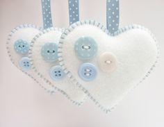x3 Buttony Hearts Felt Christmas Decorations £10.00