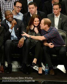 fromberkshiretobuckingham: Cambridges Visit to USA, December 8, 2014-The Duke and Duchess of Cambridge laugh with NBA legend Dikembe Mutombo
