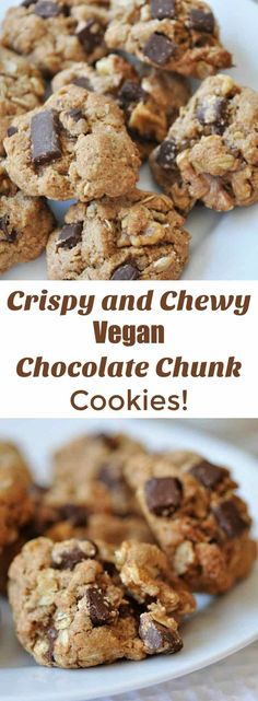 This vegan chocolate chunk oatmeal cookie recipe is lower in sugar and uses coconut oil in place of vegan butter. A must try! http://www.veganosity.com