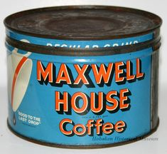 Can for Maxwell House Coffee - 1950-1960.  I love looking at an ad for a product and then seeing the actual item.  It's so cool!  Thanks Hoboken Historical Museum.