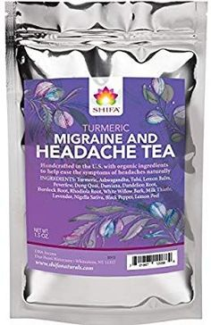 Shifa Turmeric Headache Relief Tea: Handcrafted with Herbs, Phytonutrients and Antioxidants.): Calming, soothing tea with Turmeric and herbs formulated to relieve headaches. Turmeric Tea, Organic Turmeric, Migraine Relief, Migraine Triggers, Migraine Diet, Pain Relief, Sleep Tea, Headache Remedies, Recipes