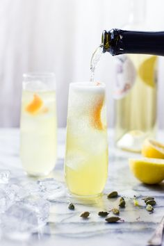 The Bojon Gourmet: One for the Money Cocktail {Cocchi Americano, St. Germain, Prosecco, Lemon, and Cardamom-Saffron Tincture}