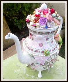 Beautiful Vintage Mosaic Teapot by JustCottageChic on Etsy