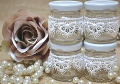 4 mini Jam Jar favors with white French Guipure lace. Shabby chic vintage gifts, wedding favours.