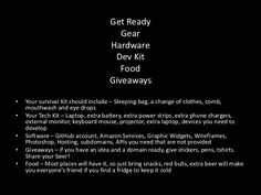 Hackathon Survival kit - Google Search
