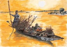 Concept art for a comic on river nomads in Mali