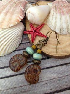Ammonite drop earrings Sandy brown and ceramic by FloatingVintage, £8.00