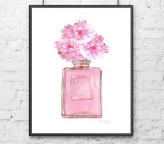 Chanel Perfume Art Print Mademoiselle -Mademoiselle Peony Flower  - Pink Perfume Bottle Art Print - wedding gift Chanel perfume decor pink