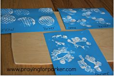 An easy snow activity that the kids can do while you drink a cup of java! Montessori inspired snowflake art- using toilet paper rolls, bubble wrap, & a potato masher. #recycle #reuse #kids