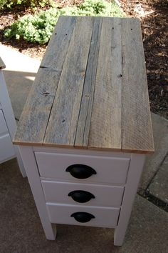 Gives me an idea for a couch-side table -- two old bedside tables back to back w/an old wood top.