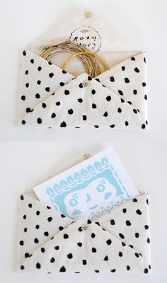 Roxy Marj Spotted Soft Envelope by romawinkel on Etsy Fabric Envelope, Envelope Art, Envelope Clutch, Cute Envelopes, Diy Accessoires, Diy Paper, Roxy, Sewing Projects, Diy Projects