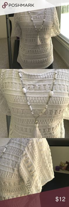 Knit Blouse Remove necklace before hand washing and hang to dry. A nice summer/fall piece. Very soft. Alfred Dunner Tops Blouses