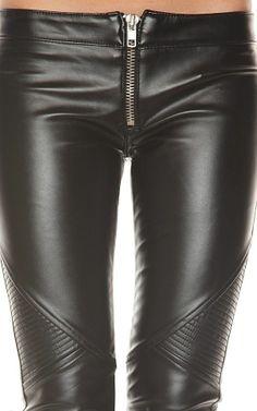 Frankie B faux leather moto pants