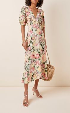Vittoria Floral-Print Crepe Midi Dress by Faithfull The Brand Hawaiian Summer Dresses, Dress Summer, Faithfull The Brand, Ladies Dress Design, Dresses For Sale, Spring Outfits, Dress Up, Play Dress, Dress Outfits