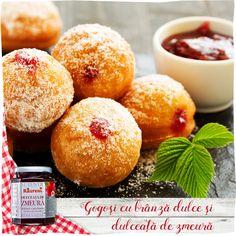 Gogoşi cu brânză dulce şi dulceaţă de zmeură Drag, Doughnut, Hamburger, Baking, Desserts, Food, Sweets, Tailgate Desserts, Deserts