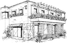 Architectural Line Drawings by T-Soup Design Studio