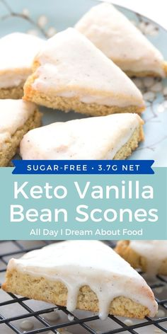 A keto Starbucks copycat recipe. These Mini Vanilla Bean Scones are grain-free and sugar-free. Enjoy your favorite coffee shop treat at home! Sugar Free Desserts, Sugar Free Recipes, Low Carb Recipes, Dessert Recipes, Sugar Free Cupcakes, Keto Foods, Keto Snacks, Low Carb Deserts, Low Carb Sweets