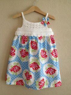 Crochet + fabric summer dress :)