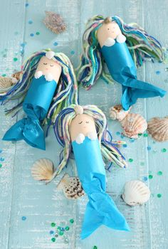 We are celebrating a mermaid birthday - Kids Birthday mermaid, sea mermaid party, mermaid crafts, mermaid crafting idea, mermaid invitation - Kids Crafts, Summer Crafts, Toddler Crafts, Crafts To Do, Craft Projects, Recycled Crafts Kids, Toddler Art Projects, Toilet Roll Craft, Toilet Paper Roll Crafts