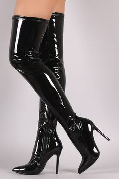 These over-the-knee boots feature a shiny vegans patent leather upper and chunky lucite heel. - up high heel boots heel boots platform heel boots latex heel boots stockings Black Over Knee Boots, Black High Heels, Thigh High Boots, High Heel Boots, Heeled Boots, Fashion Heels, Fashion Boots, Latex Fashion, Emo Fashion