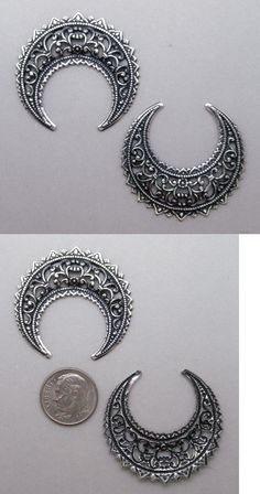 Other Jewelry Design Findings 164356: X1320 Large Antiqued Ss/P Open Filigree Crescent - 24 Pc Lot (Qty Disc) -> BUY IT NOW ONLY: $34.95 on eBay!