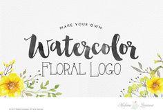 watercolor flower logo design make your own by MadameLevasseur