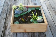 Miniature Koi Pond Waterscape in Bamboo by rezinology on Etsy, $47.00