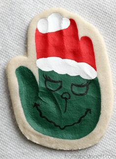 Hand Print Salt Dough Ornament - The Grinch