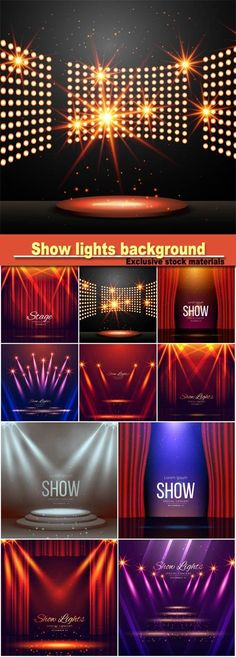 Podium with lights and shining stars show lights enterance background