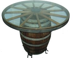 Wagon Wheel Table And Barrel Barrel Table Diy, Diy Table, Dining Table,  Rustic