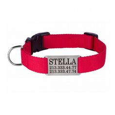 Personalized Dog Collar Nameplate Engraved S M L Red