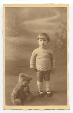Blond Scared Child Boy with Teddy Bear original old 1920s Private photo postcard
