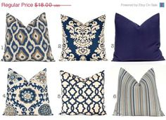 SALE Navy Blue Pillows, Blue Cushions, Decorative Throw Pillow Cover One Navy Taupe Aqua on Linen Pillows Sofa Pillows Indigo Blue Mix and M