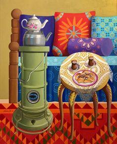 مساء بغدادي دافئ 2016. Nadia Aousi Iraqi artist Acrylic on canvas 65cmx80cm