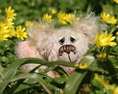 Twidget is an extremely lovable, sweet and charming one of a kind artist bear, made from delicately hand dyed mohair by Barbara Ann Bears