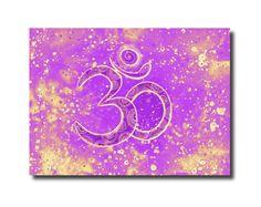 Om Aum Symbol Drawing Art PRINT, Pink Wall Decor, Indian Spiritual Yoga Poster, Vibrant Energy Art, Yoga Studio Wall Decor, Boho Wall decor by DHANAdesign on Etsy